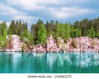 National Park of Adrspach-Teplice rocks. Rock Town. Piskovna lake. Czech Republic.