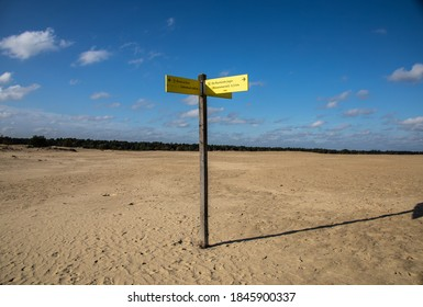 National park De Loonse and  Drunense Duinen. Landscape in The Netherlands. Signpost in Udenhout, Brabant, part of a serie.