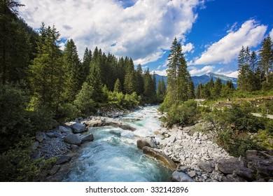 National park Krimml falls in Austria