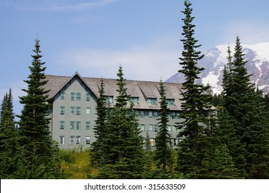 National Park Lodge at Patradise with Mt. Rainier in background, Mount Rainier National Park