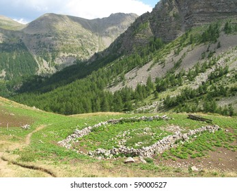 National park of the mercantour, the site of the colla of the small heel, in the Alps of high Provence, France