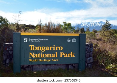 NATIONAL PARK, NZ - NOV 25 2014:Sign of Tongariro National Park.It has been acknowledged by UNESCO as one of the 28 mixed cultural and natural World Heritage Sites.