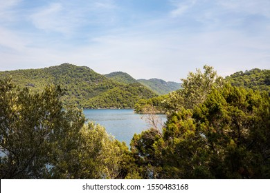 National Park on the island Mljet, Croatia. Mediterranean coast with greenery, pinetrees in the nature creating a serene calm mindful scene. Small lake turquoise bright colored saltwater lakes. Sunny
