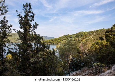 National Park on the island Mljet, Croatia. Mediterranean coast with greenery, pine trees in the beautiful nature. Small lake with turquoise bright colored saltwater. A blue sky. Serene, calm scene