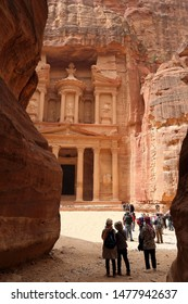 National park. Petra. Jordan. Ancient tombs of the nabotee in Petra