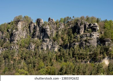 National Park of Saxon Switzerland in eastern Germany, south-east of Dresden. Beautiful ladscape view in germany, europe. Popular destination for treking and other outdoor activities