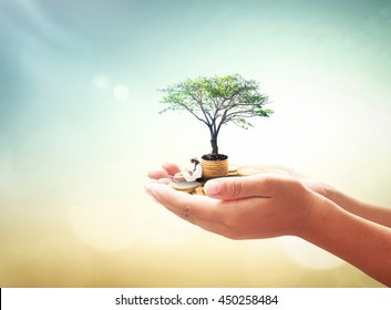 National philanthropy day concept: Human hand holding a girl reading book, stack of golden coins and big tree on blurred autumn sunset background