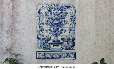 "National Portuguese ceramic tiles "" azulejo"" on the wall"