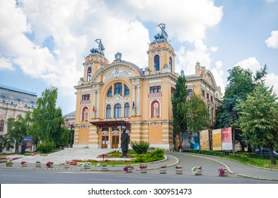 National Romanian Theater and Opera House in Cluj Napoca city in the Transylvania region of Romania in a baroque architectural style on a sunny summer day