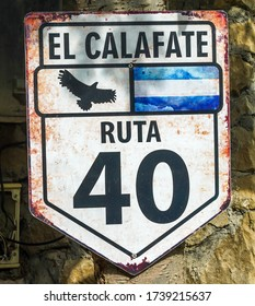 """National Route 40, also known as RN40 or """"Ruta 40"""" sign in El Calafate, Argentinian Patagonia"""