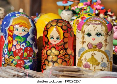 National Russian wooden toy. Painted Matryoshka