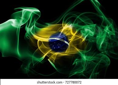 National smoke flag of Brazil isolated on black background