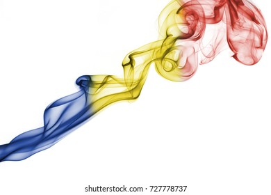 National smoke flag of Romania isolated on white background