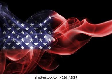 National smoke flag of United States of America isolated on black background