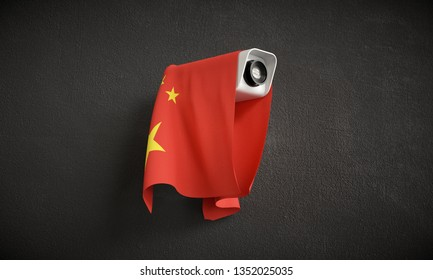 National surveillance. Security camera with the flag of China.