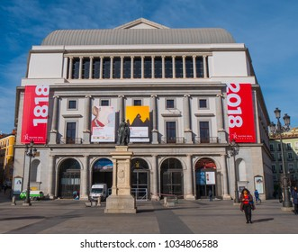 National Theater at Opera Square in Madrid - MADRID / SPAIN - FEBRUAR 21, 2018