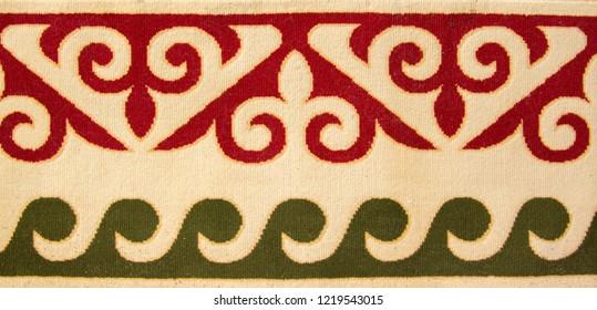 National traditional carpet felting Kazakhstan ornament vintage weaving patterns decoration yurt camel wool as ethnic background, golden horde, Kazakhstan