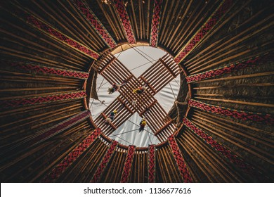 National traditional decoration of the yurt ceiling in Kzakhstan. Kazakhstani ornament. Vintage weaving of patterns. Yurt decoration.