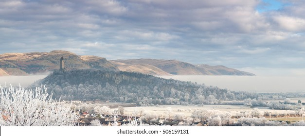 The National Wallace Monument on Abbey Craig Hill covered with frost. Stirling, Scotland, UK