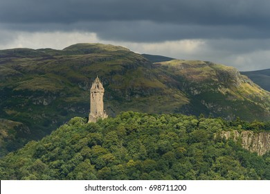 The National Wallace Monument tower standing on the summit of Abbey Craig, a hilltop near Stirling in Scotland. It commemorates Sir William Wallace, a 13th-century Scottish hero.