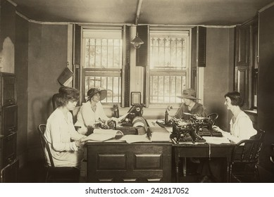 National Women's Party Press Room at their Washington. D.C. headquarters. Lead by Alice Paul, the NWP conducted increasingly militant protests demanding votes for women. Ca. 1915.
