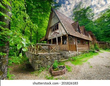 national wooden house in Carpathians, Ukraine.