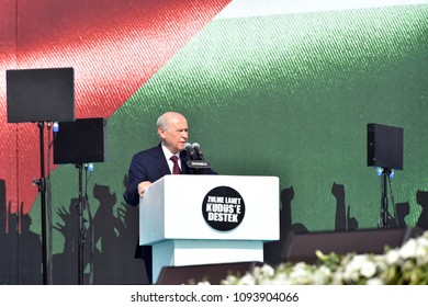 Nationalist Movement Party leader Devlet Bahceli gestures during a rally in support of Palestinian people in Istanbul, Turkey, 18 May 2018.
