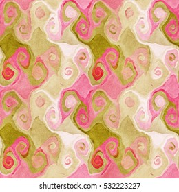 Native abstract watercolor artistic colorful swirl pattern. Ethnic boho style. Seamless draw tribal square texture.