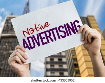 Native Advertising placard with cityscape background