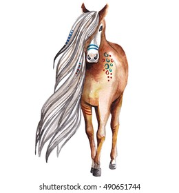 Native american Appaloosa horse with tribal patterns. Watercolor illustration