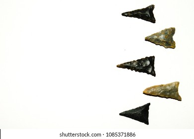 Native American arrowheads found in the Elk River watershed in middle Tennessee. Shown are referred to as bird point, Hamilton triangle, or woodland triangular from the Woodland civilization.