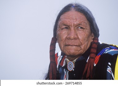 A Native American Cherokee elder at an Intertribal Powwow, Ojai, CA