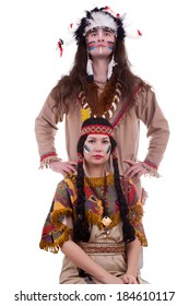 Native american couple isolated on white background. Two people. Tribal make up