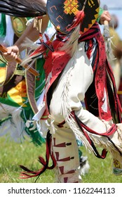 A native American dancer participates in a traditional dance at a pow wow in Virginia.