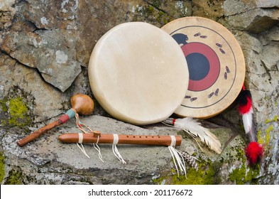 Native American Frame Drums and Flute and Shaker.