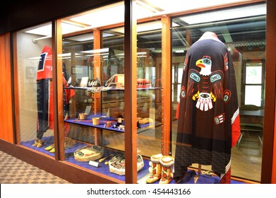 Native American handicrafts showcase display in Sitka National Historical Park, Sitka, ALASKA USA : 6 May 2016
