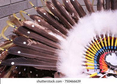 Native American Indian feather bustle with fluff feathers and horsehair tails and colorful connectors. Men wear the bustle in traditional costumes.