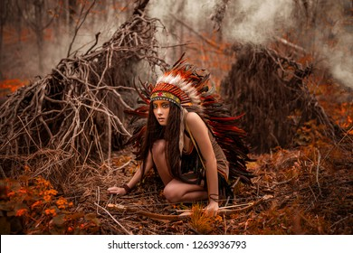 Native american. Indian woman in traditional dress