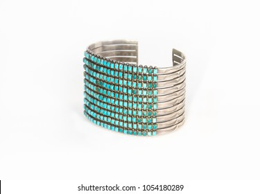 Native American Sterling Silver and Turquoise Cuff Bracelet Isolated on White.
