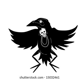 a Native American stylized dancer in a crow costume