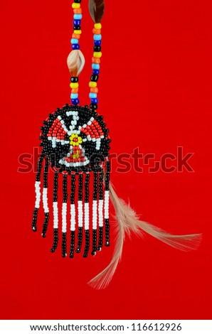 Native American Thunderbird Symbol Handcrafted Beads Stock Photo