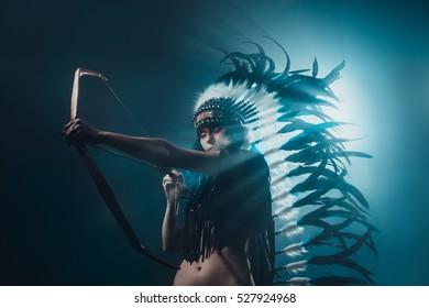 Native American woman archery