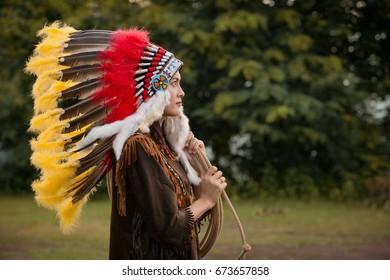 Native american women wearing indian dress