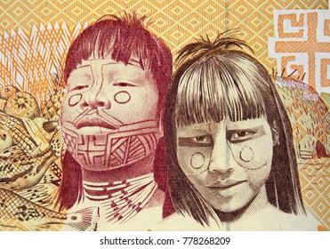 Native americans on Brazil 1000 cruzeiro (1990) banknote closeup, Brazilian money close up