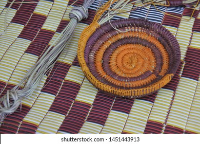 Native Australian Aboriginal basket weaving shape background in Arnhem Land in the Northern Territory of Australia