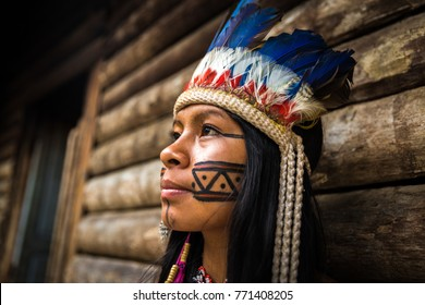 Native Brazilian woman from Tupi Guarani Tribe, Brazil