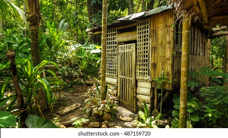Native building made from bamboo and nipa - Philippine jungle