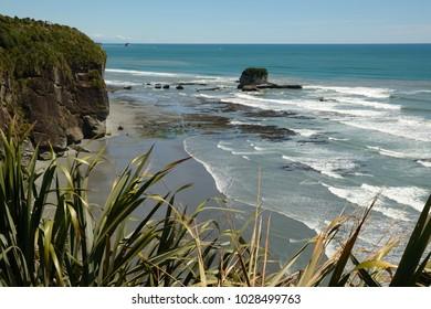 native bush frames a beach at low tide on a West Coast beach, South Island, New Zealand