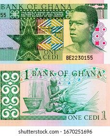 Native Ghanaian carving, Description Basketmaking, Portrait from Ghana 1 Cedi 1979 Banknotes. An Old paper banknote, vintage retro. Famous ancient Banknotes. Collection.