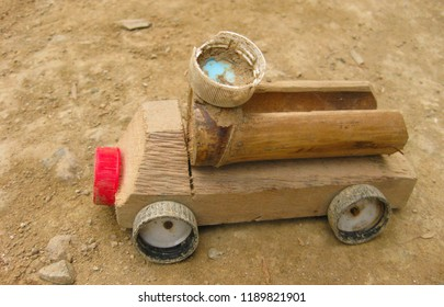 Native Handmade Filipino Toy Truck created using native wood bamboo and bottle caps.